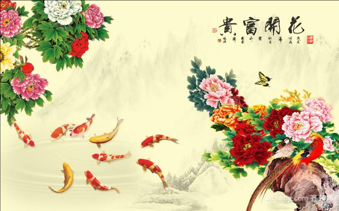 70平米中国风客厅电视背景墙装修效果图