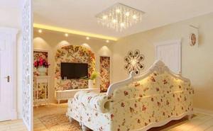 100㎡温馨韩式田园客厅吊顶电视背景墙装修效果图