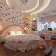 欧式田园风格卧室圆形床饰装饰