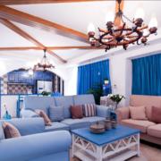 地中海风格窗户蓝色窗帘装饰