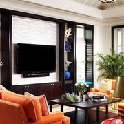 后现代风格硅藻泥电视背景墙装饰