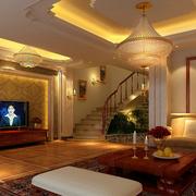 欧式风格奢华客厅大型灯饰装饰