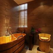 日式简约风格卫生间原木浴缸装饰