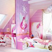 粉色系简约风格儿童房隔断装饰