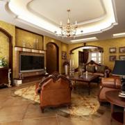 美式简约风格样板房客厅拱形门装饰
