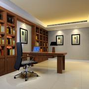 简约风格原木深色书房背景墙装饰