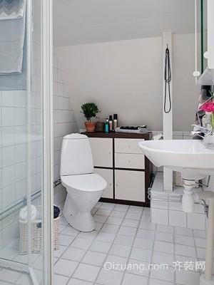 简约卫生间白色瓷砖装修效果图