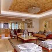 复式楼简约风格客厅花纹吊顶装饰