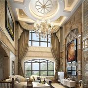欧式风格大型挑空客厅窗帘装饰