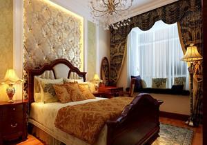 三室一厅瑰丽雅致欧式风格卧室背景墙设计装修效果图