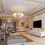 欧式风格奢华白色系客厅电视柜装饰