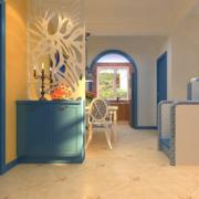 地中海风格复式楼天蓝色鞋柜装饰