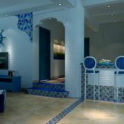 地中海复式楼客厅吧台装饰