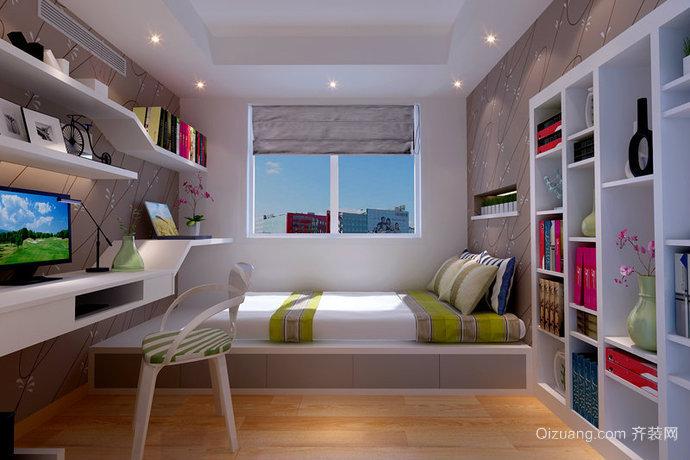 小户型现代简约小书房吊顶背景墙装修效果图