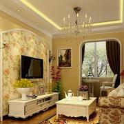 欧式田园风格客厅电视背景墙装饰