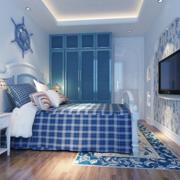 地中海简约风格卧室墙饰效果图