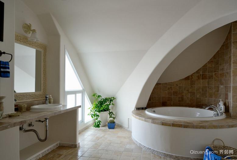 两居室蓝色经典地中海风格卫生间设计装修效果图