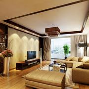 后现代风格深色简约客厅吊顶装饰