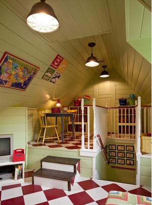 美式简约斜顶阁楼客厅装饰