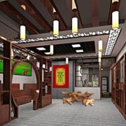 中式别墅客厅置物架隔断设计