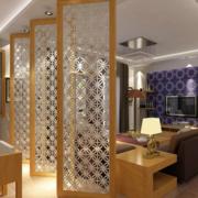 中式风格客厅玻璃印花隔断装饰