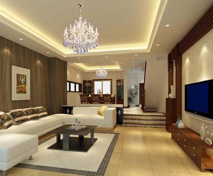 别墅 欧式错层客厅电视背景墙 装修效果图 齐装