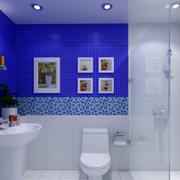 三室两厅洗手间蓝色背景墙