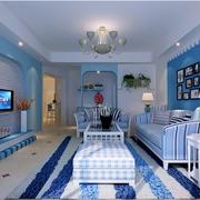 地中海客厅石膏板电视背景墙装饰