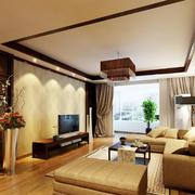 后现代风格暖色系客厅吊顶装饰