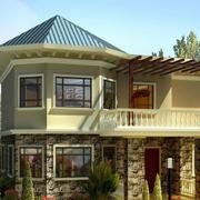 美式清新风格别墅外观图设计