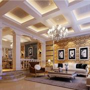 别墅欧式风格奢华客厅石膏板吊顶装饰