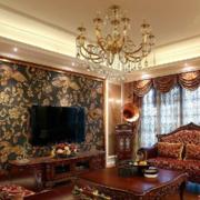 欧式风格深色系电视背景墙装饰