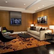 现代简约风格原木背景电视背景墙装饰