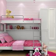 粉色可爱的实木床