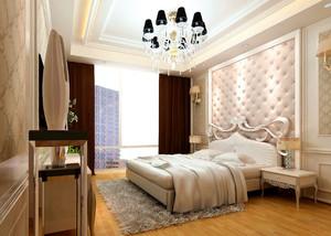三室一厅卧室床头背景墙装修效果图