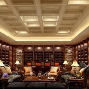 欧式风格别墅酒窖深色原木酒柜装