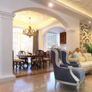 美式简约风格客厅拱门装饰