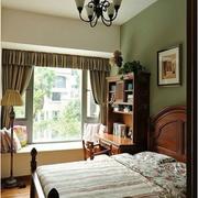 美式简约卧室飘窗效果图