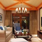 东南亚原木浅色客厅吊顶装饰