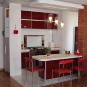 厨房橱柜欧式红色款