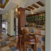 别墅原木酒窖吧台装饰