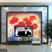 中式风格印花电视墙装饰