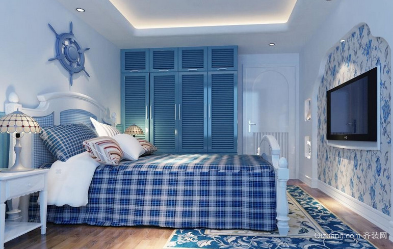 大户型蓝色海洋地中海风格卧室背景墙设计装修效果图