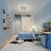 儿童房欧式白色蓝色混搭款