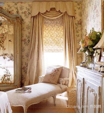 欧式风格别墅飘窗窗帘装修效果图