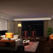 中式客厅深色灯饰装饰