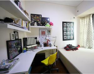 70平米小户型时尚简约书房简易书架背景墙装修效果图