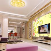 中式简约风格客厅3D墙饰装饰