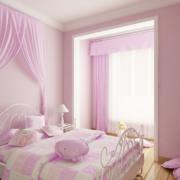 粉色系简约风格儿童房飘窗装饰