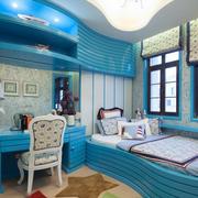 房间背景墙田园蓝色款